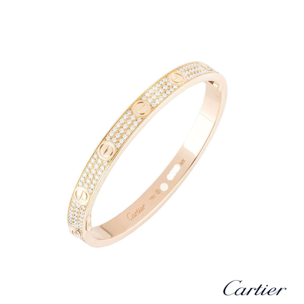 Cartier Rose Gold Pave Diamond Love Bracelet Size 17 N6036917